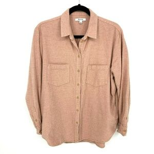 Madewell Pink Antique Coral Flannel Sunday Shirt